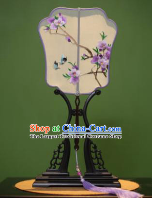 Handmade Chinese Traditional Embroidered Purple Flowers Silk Fans Classical Palace Fans for Women