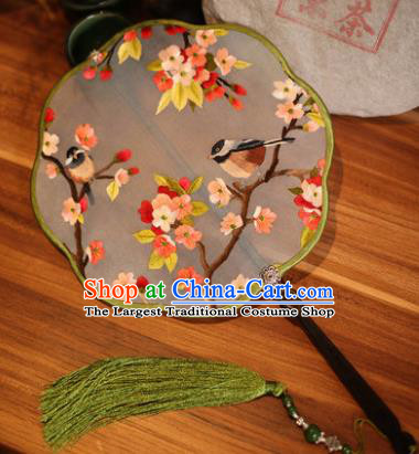 Handmade Chinese Traditional Embroidered Flowers Birds Silk Fans Classical Palace Fans for Women