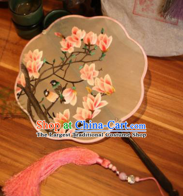 Handmade Chinese Traditional Embroidered Magnolia Flowers Silk Fans Classical Palace Fans for Women