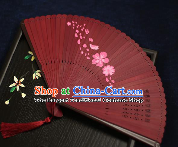 Chinese Handmade Printing Flowers Bamboo Red Fans Classical Accordion Traditional Folding Fans for Women