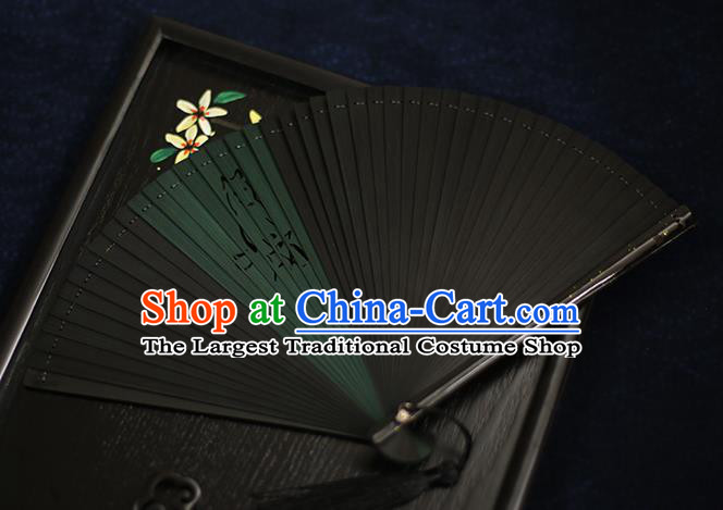 Chinese Handmade Carving Wolf Bamboo Fans Classical Accordion Traditional Folding Fans for Women