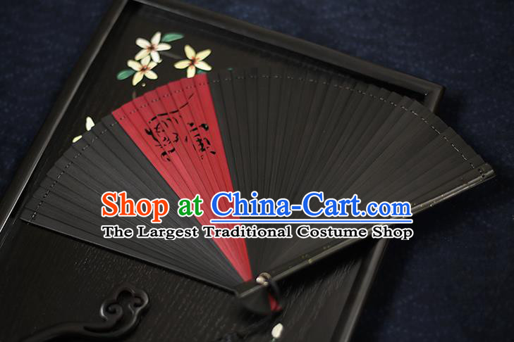 Chinese Handmade Carving Zodiac Tiger Bamboo Fans Classical Accordion Traditional Folding Fans for Women