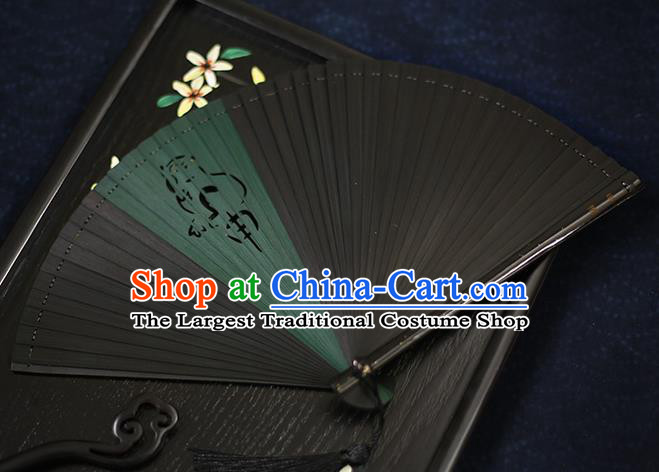 Chinese Handmade Carving Zodiac Monkey Bamboo Fans Classical Accordion Traditional Folding Fans for Women