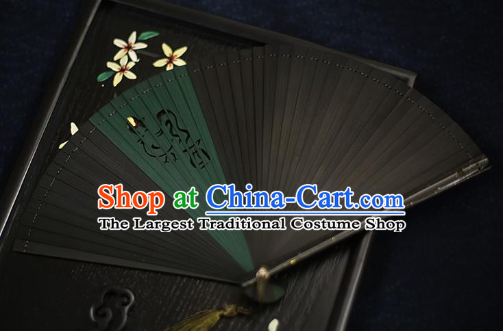 Chinese Handmade Carving Zodiac Cock Bamboo Fans Classical Accordion Traditional Folding Fans for Women