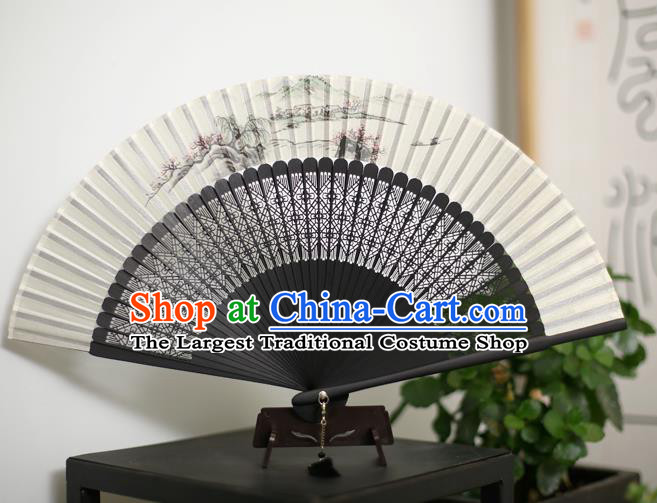 Chinese Handmade Ink Painting Silk Fans Classical Accordion Traditional Folding Fans for Women