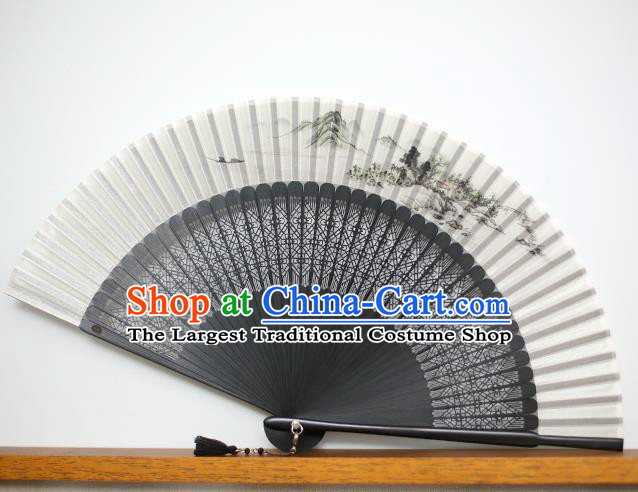 Chinese Handmade Ink Painting Landscape Silk Fans Classical Accordion Traditional Folding Fans for Women