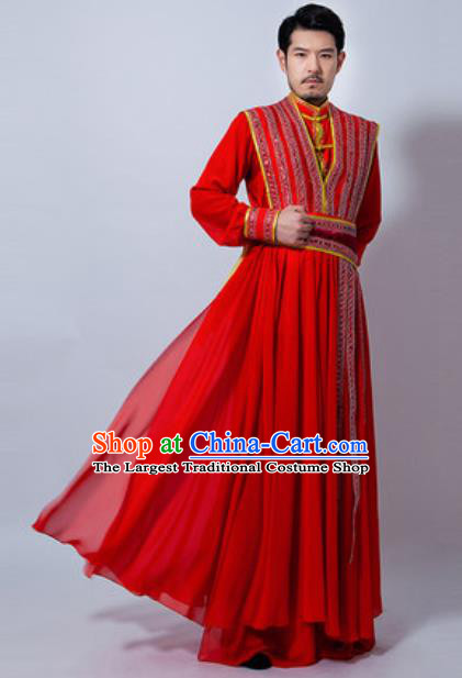 Chinese Folk Dance Drum Dance Yanko Dance Red Costume Classical Dance Clothing for Men