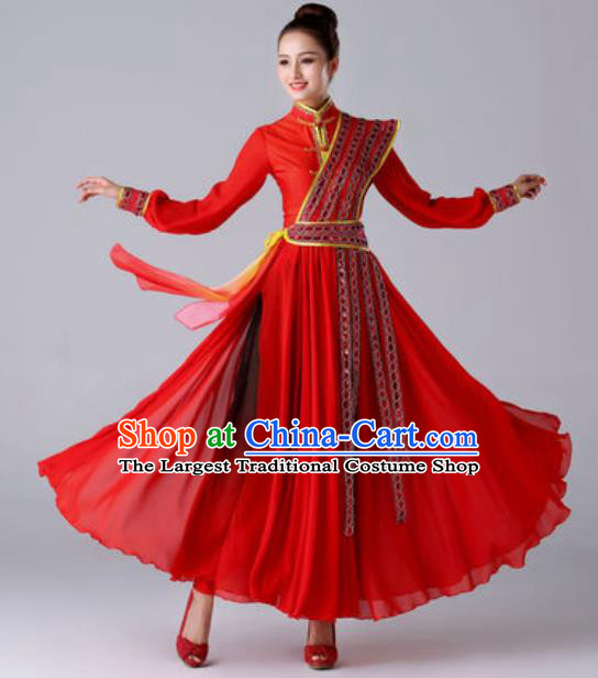 Chinese Traditional Umbrella Dance Red Costume Classical Dance Stage Performance Dress for Women