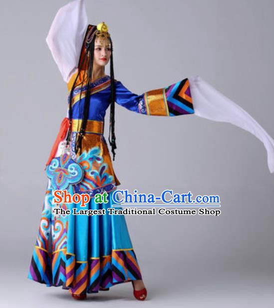 Chinese Traditional Ethnic Costume Zang Nationality Princess Folk Dance Blue Dress for Women