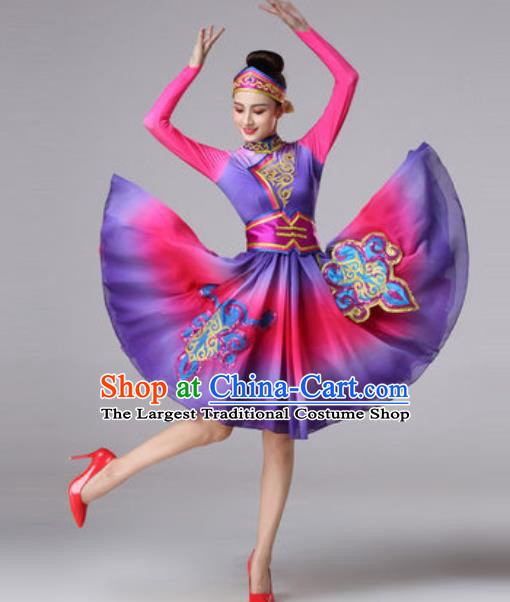 Chinese Traditional Ethnic Princess Costume Mongolian Nationality Folk Dance Purple Short Dress for Women