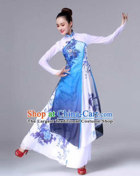 Chinese Traditional Umbrella Dance Costume Classical Dance Stage Performance Blue Dress for Women