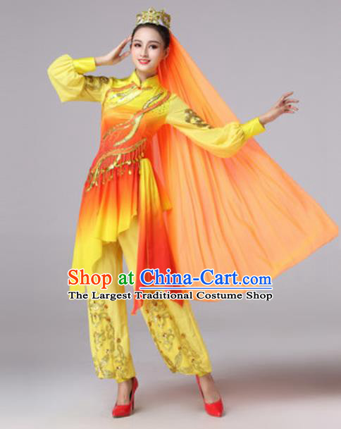 Chinese Traditional Ethnic Princess Costume Uyghur Nationality Folk Dance Yellow Clothing for Women
