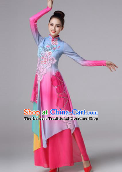 Chinese Traditional Umbrella Dance Costume Classical Dance Fan Dance Stage Performance Rosy Dress for Women