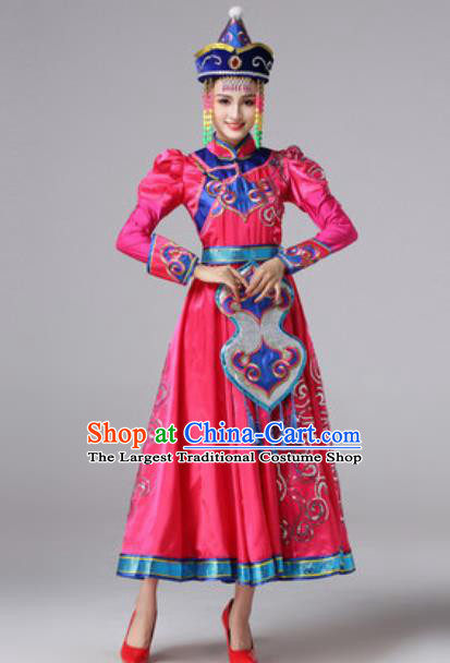 Chinese Traditional Ethnic Princess Costume Mongolian Nationality Folk Dance Rosy Dress for Women