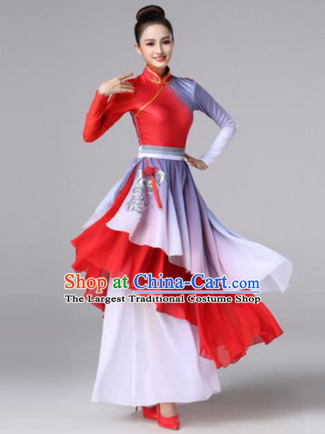 Chinese Traditional Fan Dance Costume Classical Dance Stage Performance Red Dress for Women