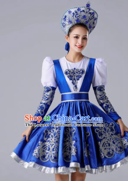 aa9fcc855 Top Grade Europe Court Dance Costume Russia National Stage Performance  Royalblue Dress for Women