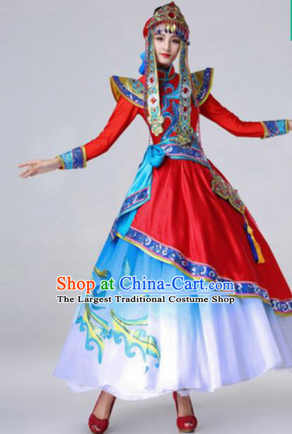 Chinese Traditional Ethnic Costume Mongolian Nationality Princess Folk Dance Red Dress for Women