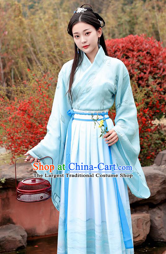 Chinese Ancient Court Maid Hanfu Dress Han Dynasty Nobility Lady Princess Historical Costume for Women