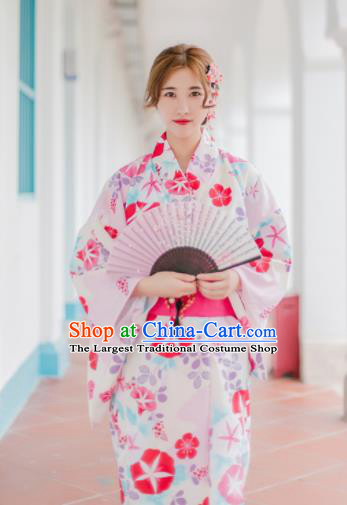 Japanese Traditional Handmade Printing Sakura Kimono Dress Asian Japan Geisha Yukata Costume for Women