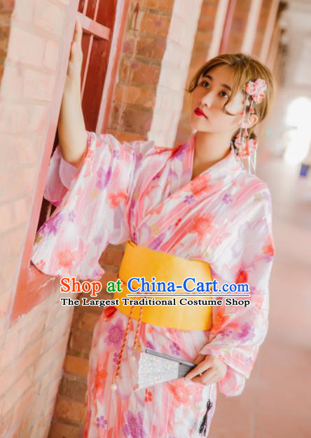 Japanese Traditional Handmade Printing Kimono Pink Dress Asian Japan Geisha Yukata Costume for Women
