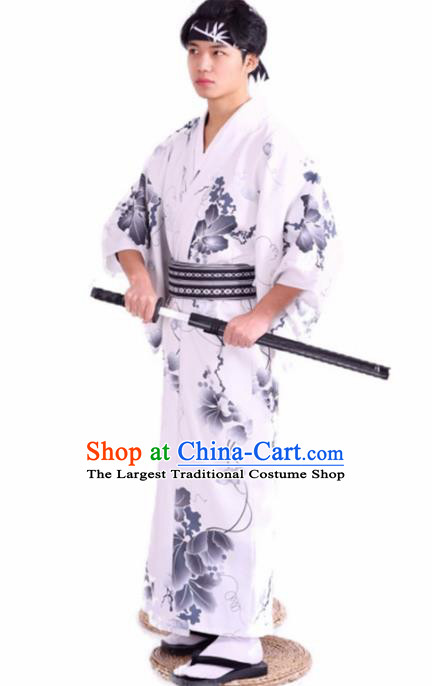 Japanese Traditional Samurai Printing White Kimono Robe Asian Japan Handmade Warrior Yukata Costume for Men