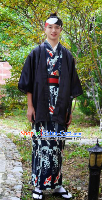 Japanese Traditional Samurai Black Haori Kimono Asian Japan Handmade Warrior Yukata Costume for Men
