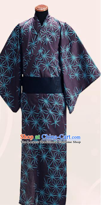 Japanese Traditional Samurai Black Kimono Asian Japan Handmade Warrior Yukata Costume for Men