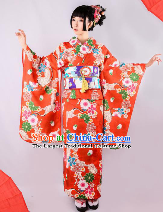 Japanese Traditional Handmade Printing Furisode Kimono Dress Asian Japan Geisha Red Yukata Costume for Women