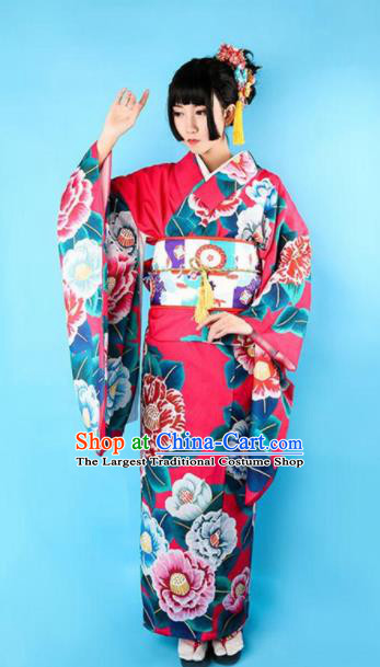 Japanese Traditional Handmade Printing Peony Furisode Kimono Dress Asian Japan Geisha Rosy Yukata Costume for Women