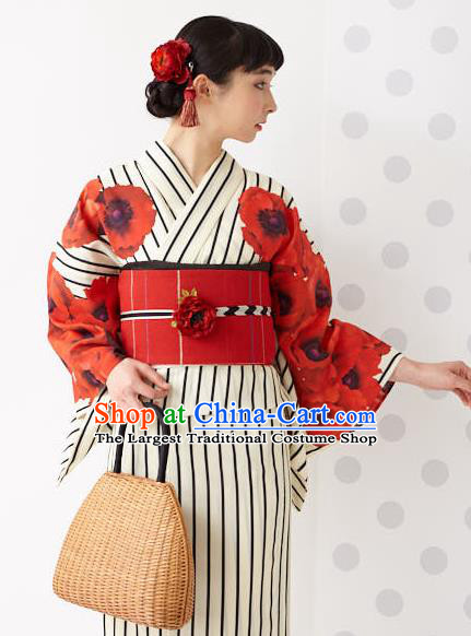 Japanese Traditional Handmade Printing Flowers Kimono Dress Asian Japan Geisha Yukata Costume for Women