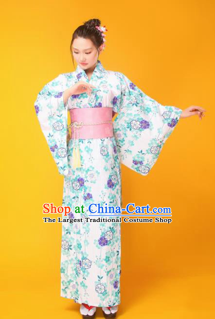 Japanese Traditional Handmade Printing Furisode Kimono Green Dress Asian Japan Geisha Yukata Costume for Women