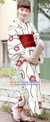 Japanese Traditional Handmade Printing White Kimono Dress Asian Japan Geisha Yukata Costume for Women