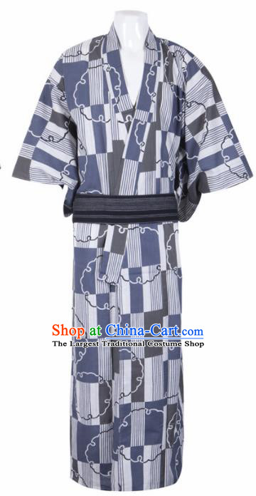 Japanese Traditional Samurai Printing Kimono Robe Asian Japan Handmade Warrior Yukata Costume for Men