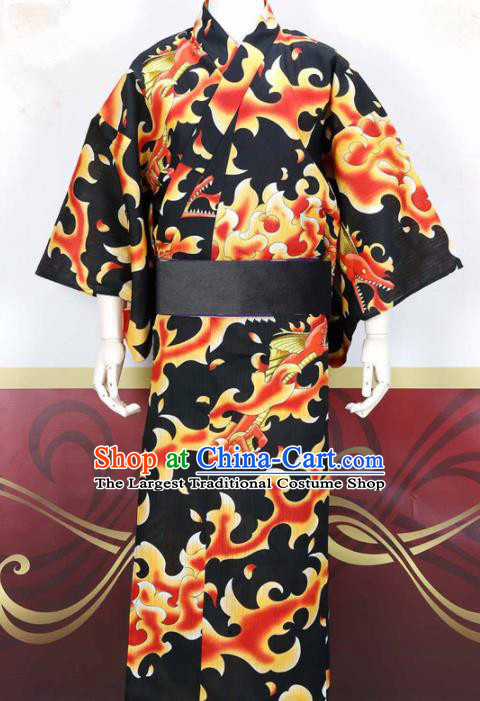 Japanese Traditional Samurai Court Black Kimono Robe Asian Japan Handmade Warrior Yukata Costume for Men