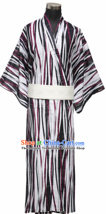 Traditional Japanese Samurai Kimono Robe Asian Japan Handmade Warrior Yukata Costume for Men