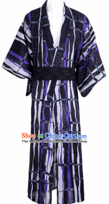 Traditional Japanese Samurai Black Kimono Robe Asian Japan Handmade Warrior Yukata Costume for Men