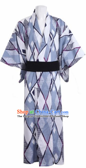 Traditional Japanese Samurai Grey Kimono Robe Asian Japan Handmade Warrior Yukata Costume for Men