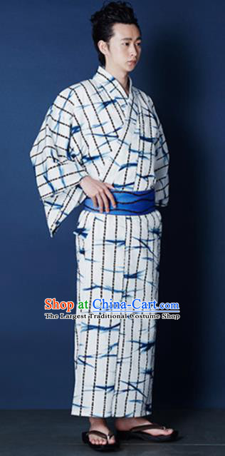 Traditional Japanese Samurai Printing Bamboo White Kimono Robe Asian Japan Handmade Warrior Yukata Costume for Men
