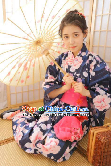 Japanese Traditional Handmade Printing Peony Furisode Kimono Navy Dress Asian Japan Geisha Yukata Costume for Women