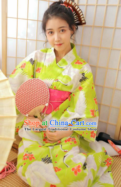 Japanese Traditional Handmade Printing Cranes Furisode Kimono Green Dress Asian Japan Geisha Yukata Costume for Women