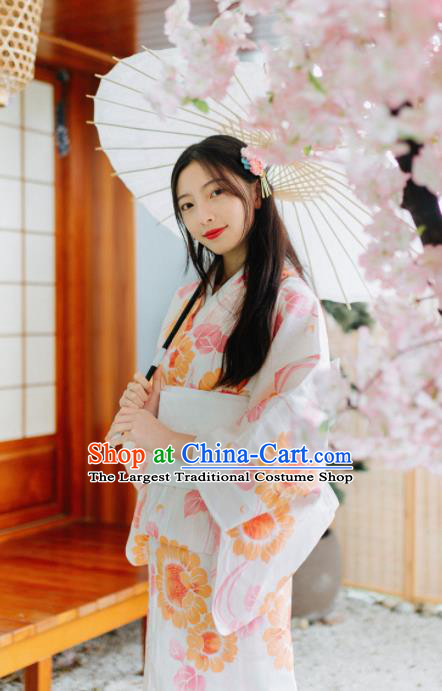 Japanese Traditional Handmade Printing Sunflowers White Kimono Dress Asian Japan Geisha Yukata Costume for Women