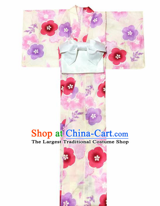 Japanese Traditional Handmade Printing Yellow Kimono Dress Asian Japan Geisha Yukata Costume for Women