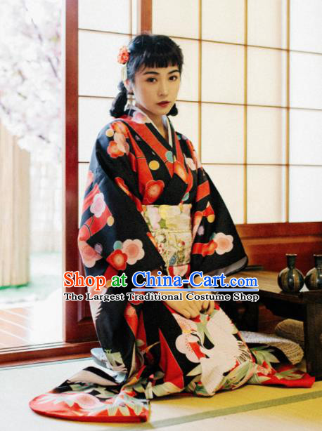 Handmade Japanese Geisha Printing Black Furisode Kimono Dress Asian Japan Traditional Yukata Costume for Women