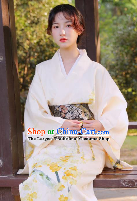 Handmade Japanese Geisha Printing Beige Furisode Kimono Dress Asian Japan Traditional Yukata Costume for Women