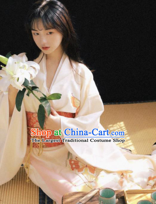 Handmade Japanese Geisha Printing White Furisode Kimono Dress Asian Japan Traditional Yukata Costume for Women