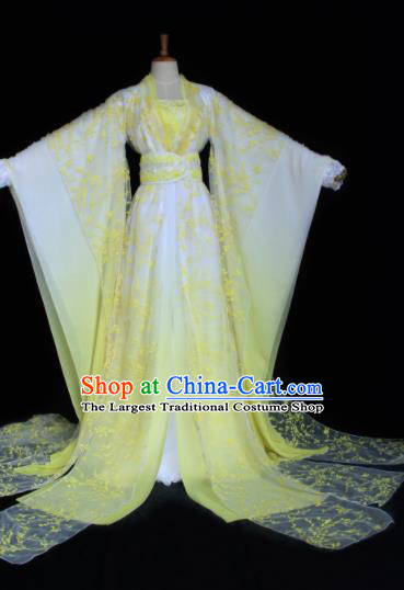 Chinese Traditional Cosplay Peri Costume Ancient Swordswoman Yellow Hanfu Dress for Women