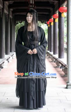 Chinese Traditional Cosplay Peri Costume Ancient Swordswoman Black Hanfu Dress for Women