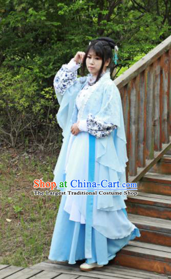 Chinese Traditional Cosplay Peri Princess Costume Ancient Swordswoman Blue Hanfu Dress for Women
