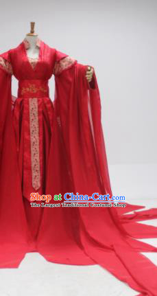 Chinese Traditional Cosplay Peri Princess Wedding Costume Ancient Swordswoman Red Hanfu Dress for Women