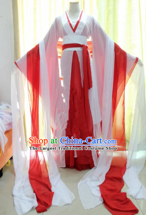 Chinese Traditional Cosplay Princess Costume Ancient Swordswoman Red Hanfu Dress for Women